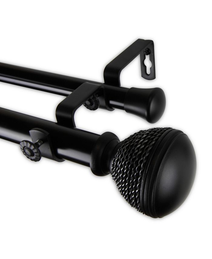 "Rod Desyne - Braided Double Curtain Rod 1"" OD 160-240 inch - Black"