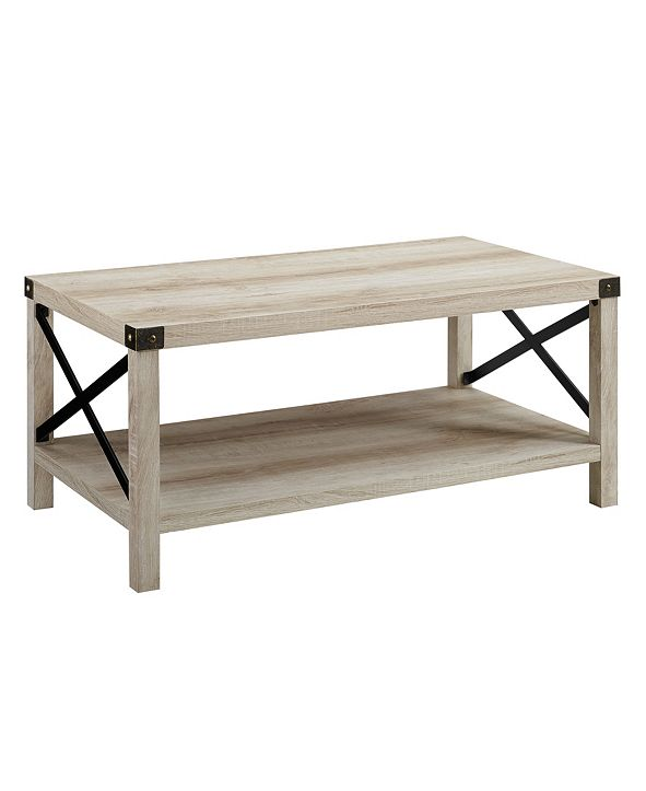 "Walker Edison 40"" Farmhouse Metal X Coffee Table"