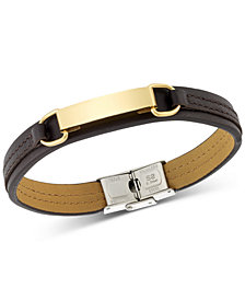 LEGACY for MEN by Simone I. Smith ID Plate Brown Leather Bracelet in Stainless Steel Yellow Ion-Plate