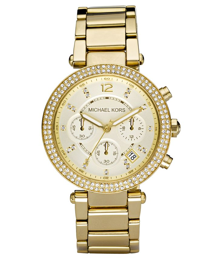 Michael Kors - Women's Chronograph Parker Gold Ion Plated Stainless Steel Bracelet Watch 39mm MK5354