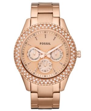 Fossil Watch, Women's Chronograph Stella Glitz Rose Gold Ion Plated Stainless Steel Bracelet 37mm ES3003