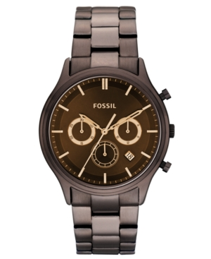 Fossil Watch, Men's Chronograph Dress Brown Ion Plated Stainless Steel Bracelet 41mm FS4670