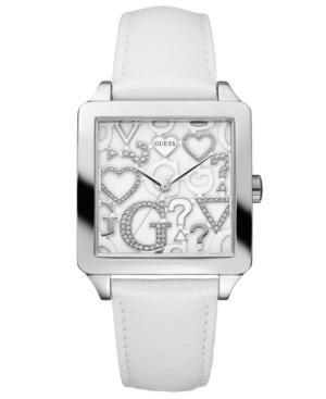GUESS Watch, Women's White Leather Strap 37x37mm U85115L1