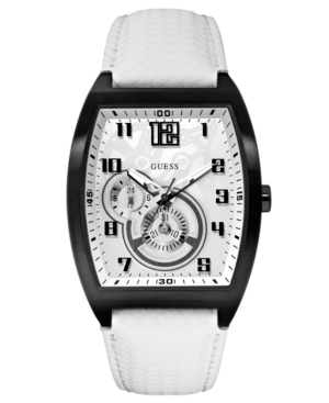 GUESS Watch, Men's Charismatic Sport White Textured Leather Strap 41x41mm U13617G2