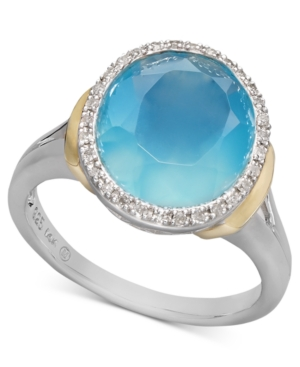 14k Gold and Sterling Silver Ring, Light Blue Agate (3-5/8 ct. t.w.) and Diamond (1/10 ct. t.w.) Statement Ring