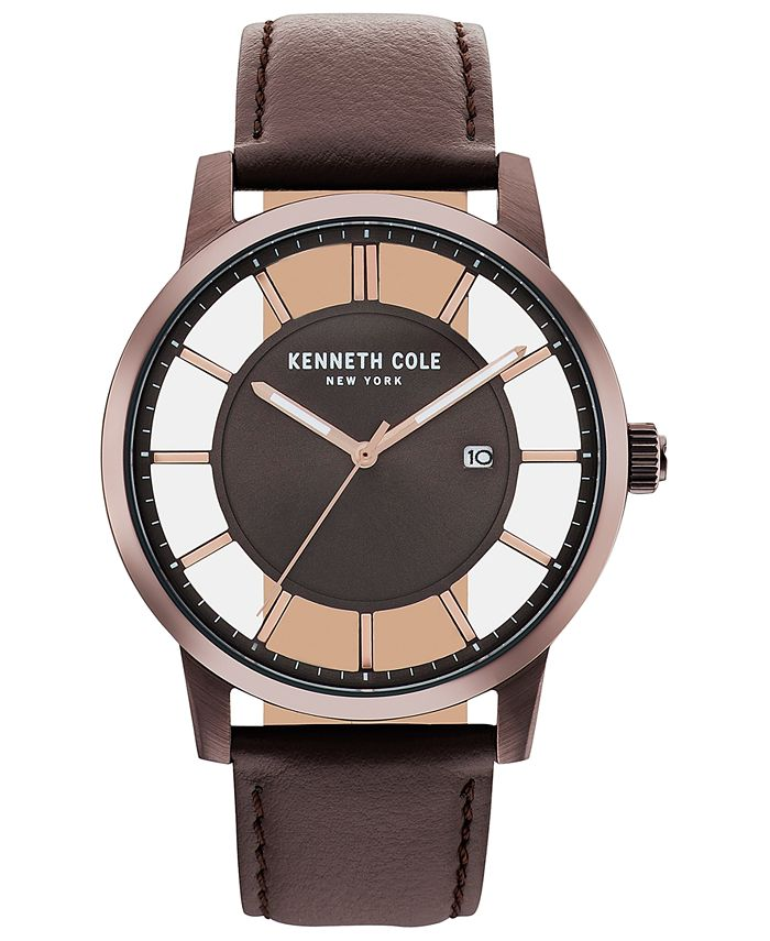 Kenneth Cole New York - Men's Brown Leather Strap Watch 44mm