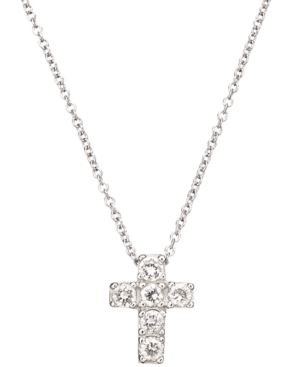 CRISLU Children's Necklace, Platinum over Sterling Silver Clear Cubic Zirconia Cross Pendant (1/3 ct. t.w.)