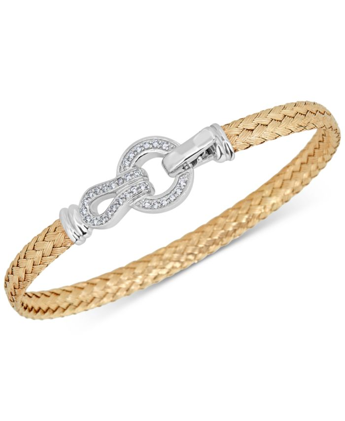Macy's Diamond Horseshoe Braided Mesh Bangle Bracelet (1/4 ct. t.w.) in Sterling Silver & 14k Gold-Plate & Reviews - Bracelets - Jewelry & Watches - Macy's