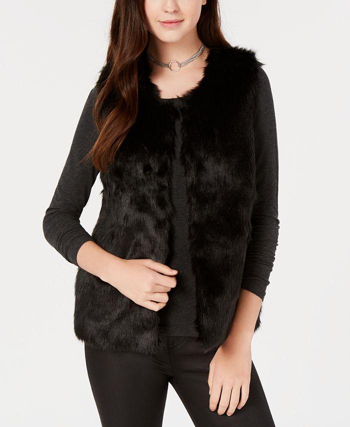 Say What? - Juniors' Faux-Fur Vest