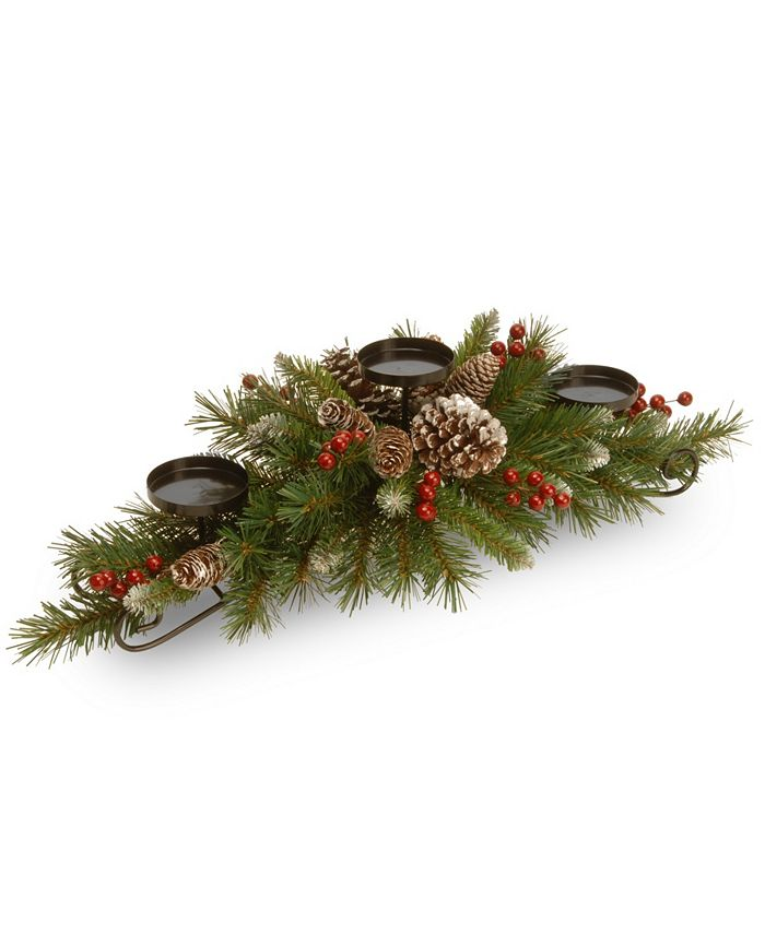 "National Tree Company - 30"" Frosted Berry Centerpiece with 3 Candle Holders"