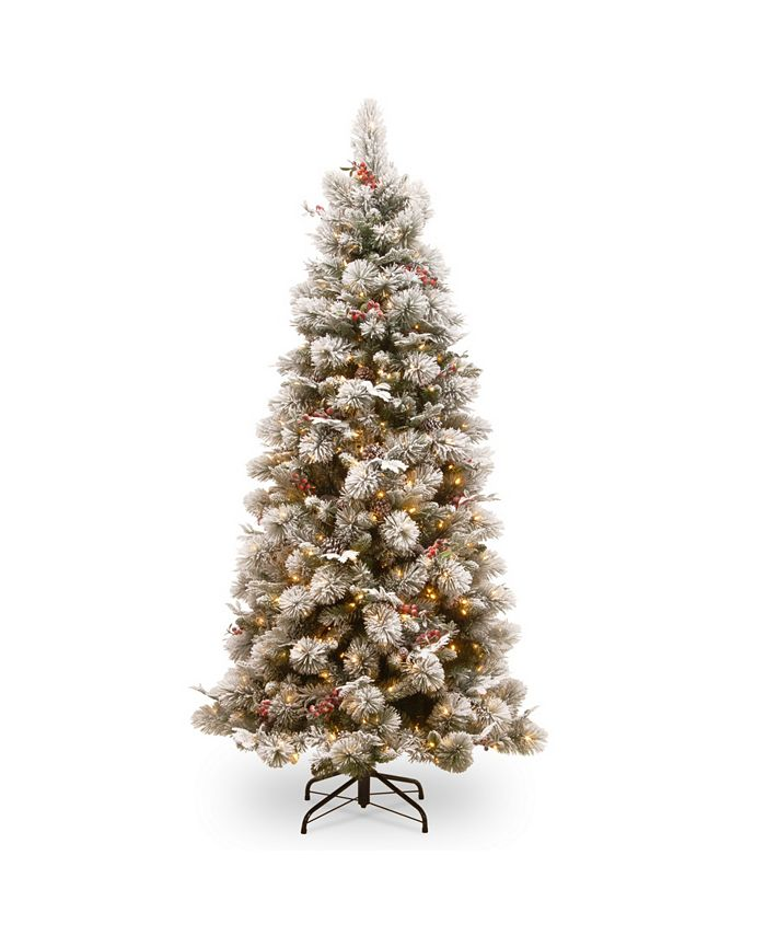 National Tree Company - National Tree 7 .5' Snowy Bedford Pine Slim Tree with Red Berries, Cedar Leaves, Mixed Cones 500 Clear Lights