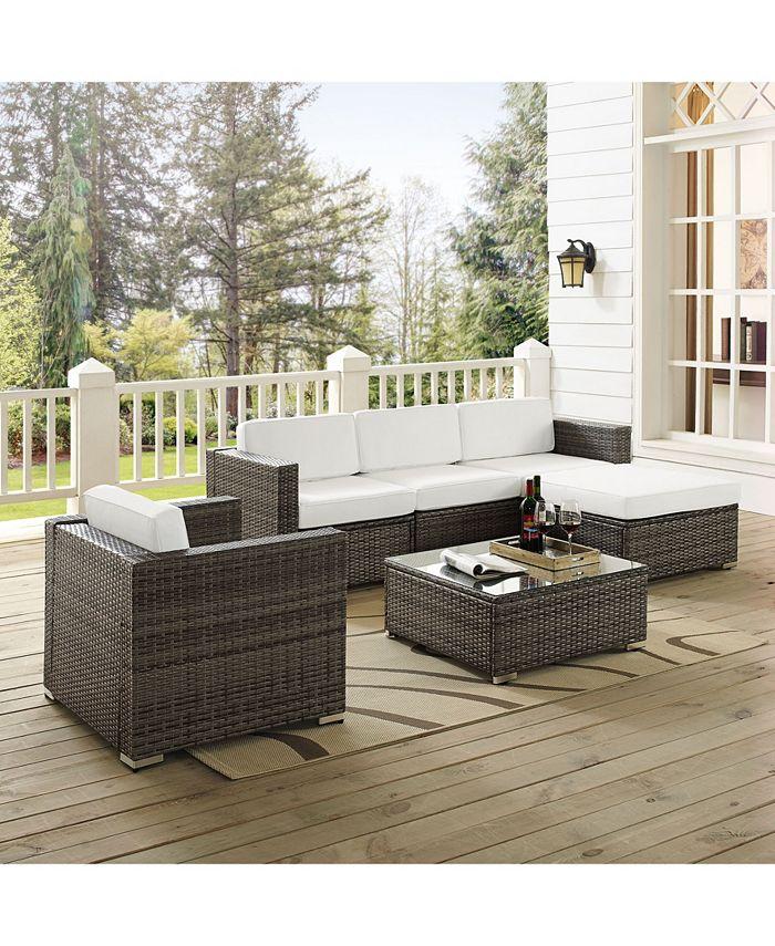 Crosley Sea Island 6 Piece Wicker Sectional Set Reviews Furniture Macy S