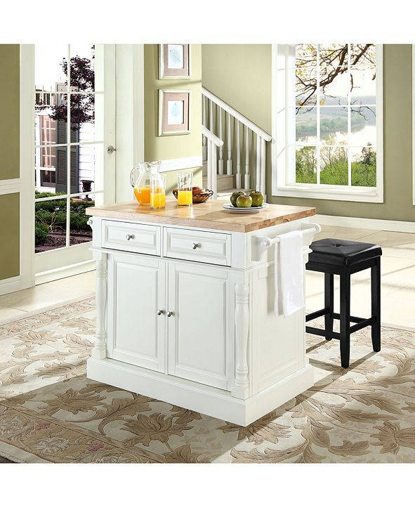 """Crosley Oxford Butcher Block Top Kitchen Island With 24"""" Upholstered Square Seat Stools"""