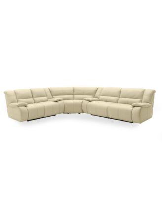 Nina leather reclining sectional sofa 3 piece power for Nina leather sectional sofa