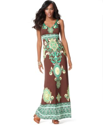 INC International Concepts Dress, Sleeveless Printed Empire Maxi