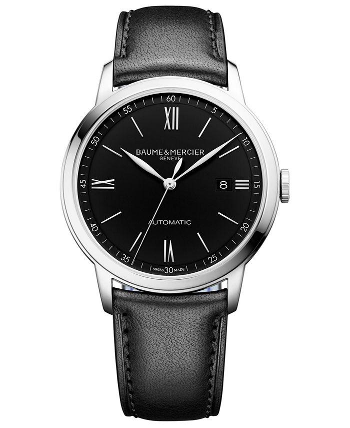 Baume & Mercier - Men's Swiss Automatic Classima Black Leather Strap Watch 42mm
