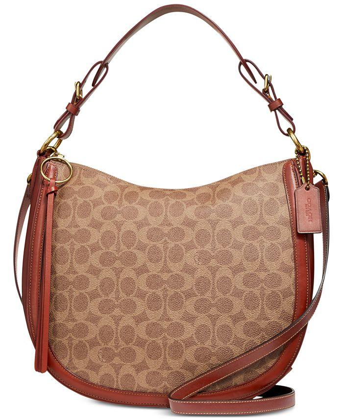 COACH Coated Canvas Signature Sutton Hobo & Reviews - Handbags ...