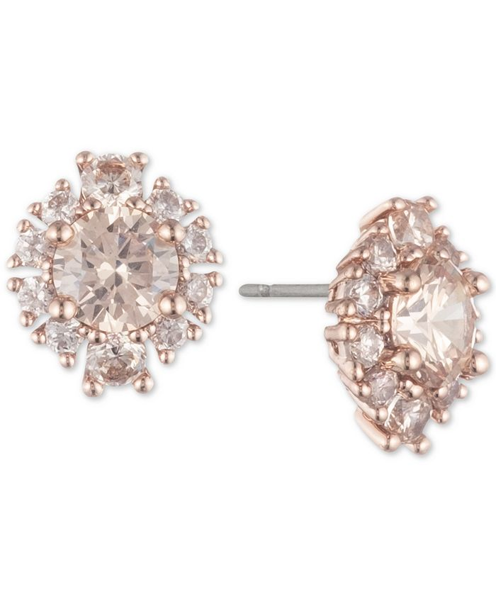 Marchesa - Rose Gold-Tone Crystal Cluster Button Earrings
