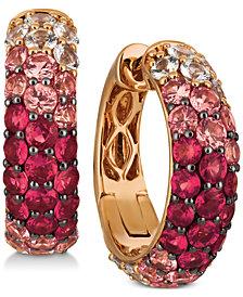 Le Vian® Strawberry Layer Cake Multi-Gemstone Ombré Hoop Earrings (4-1/5 ct. t.w.) in 14k Rose Gold