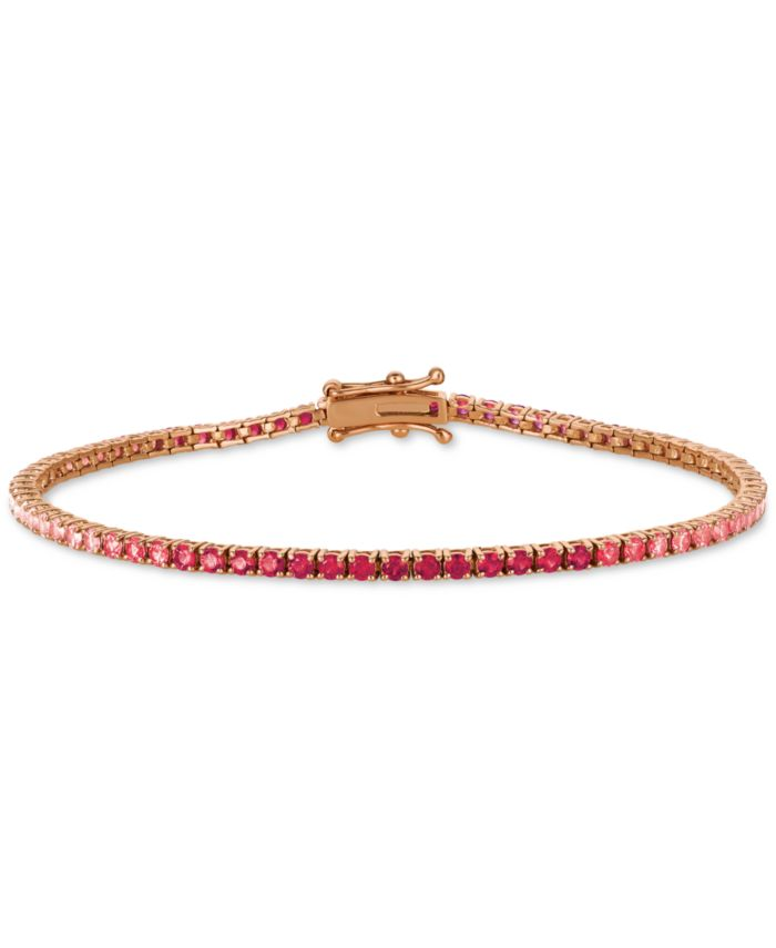 Le Vian Strawberry Layer Cake Ruby (7/8 ct. t.w.) & Pink Sapphire (2 ct. t.w.) Link Bracelet in 14k Rose Gold & Reviews - Bracelets - Jewelry & Watches - Macy's