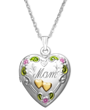14k Gold and Sterling Silver Necklace, Mom Heart Locket