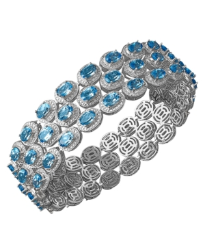Sterling Silver Bracelet, Blue Topaz (33 ct. t.w.) and Diamond Accent Three Row Bracelet