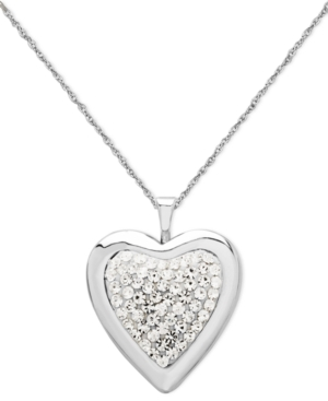Sterling Silver Necklace, Crystal Heart Locket