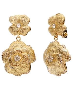 Monet Earrings, Gold Tone Floral Crystal Double Drop Earrings