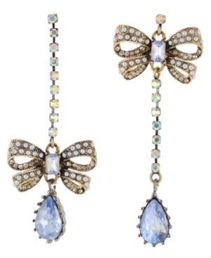Betsey Johnson Earrings, Blue Crystal and Bow Mismatched Linear Drop Earrings