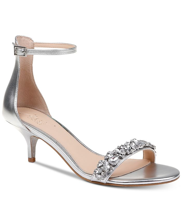 Jewel Badgley Mischka - Dash Kitten-Heel Evening Sandals