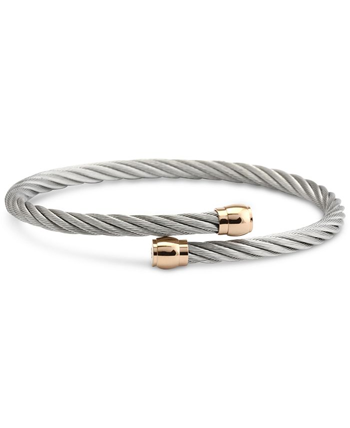 CHARRIOL - Two-Tone Cable Bypass Bangle Bracelet in PVD Stainless Steel & Rose Gold-Tone