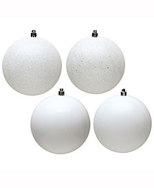 "Vickerman 8"" White 4-Finish Ball Christmas Ornament, 4 Per Bag"