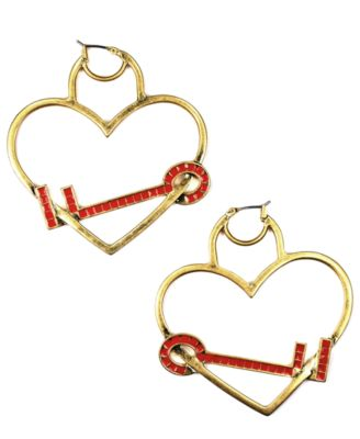 RACHEL Rachel Roy Earrings, Heart and Key Hoop Earrings