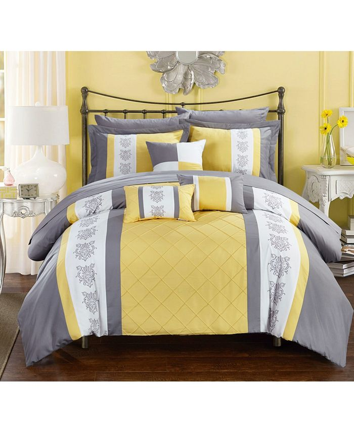Chic Home - Clayton 10-Pc. King Bed In a Bag Comforter Set