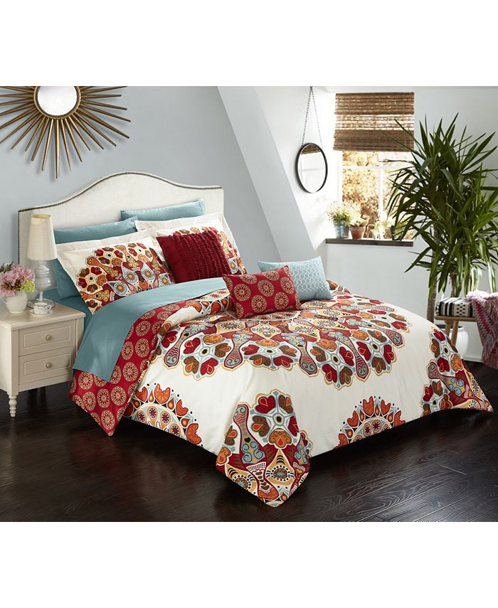 Chic Home - Aberdeen 10-Pc. Queen Bed In a Bag Comforter Set