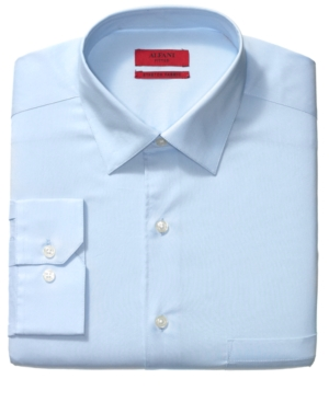 Alfani Dress Shirt, Fitted Blue Jay Solid Long Sleeve Shirt