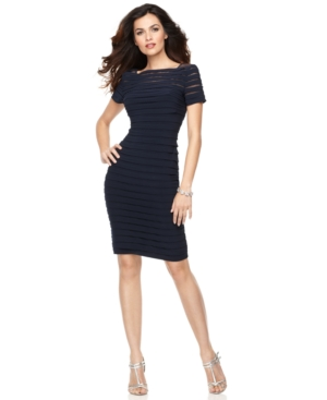 Adrianna Papell Dress, Short Sleeve Pleated Cocktail Dress