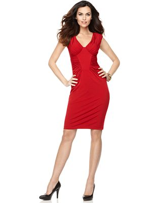 Dress sleeveless gathered red jersey cocktail dress dresses women