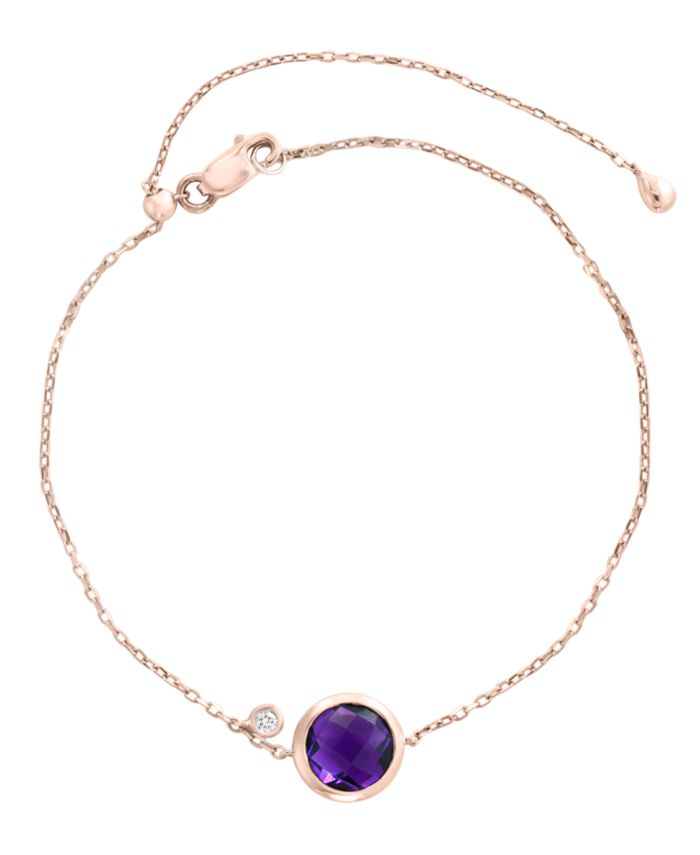 EFFY Collection EFFY® Amethyst (1 1/2 ct. t.w.) and Diamond Accent Bracelet in 14k Rose Gold & Reviews - Bracelets - Jewelry & Watches - Macy's