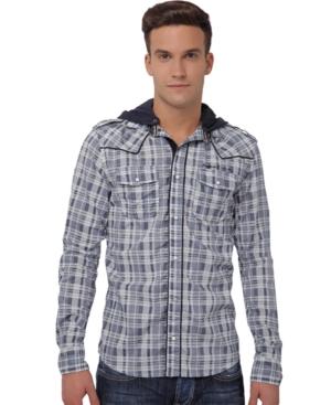 Buffalo David Bitton Shirt, Symeb Hooded Plaid Shirt