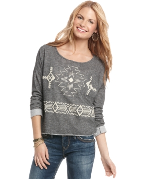 Living Doll Top, Long Sleeve Tribal Print French Terry Sweatshirt