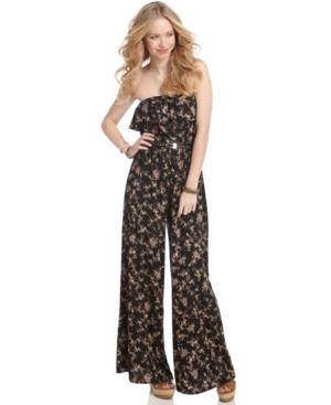 American Rag Jumpsuit, Strapless Floral Print Belted Wide Leg