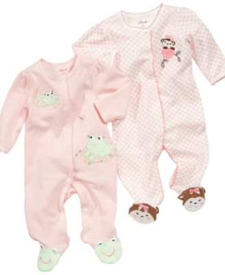 Little Me Baby Coverall Baby Girls Coverall with Animal Footies