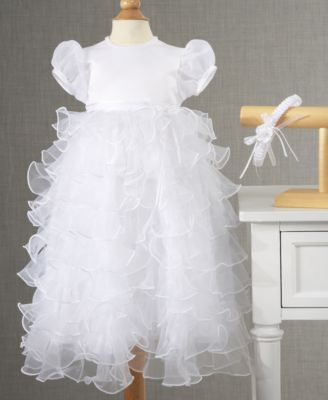 Lauren Madison Baby Dress Baby Girls Tiered Christening Dress with Headband
