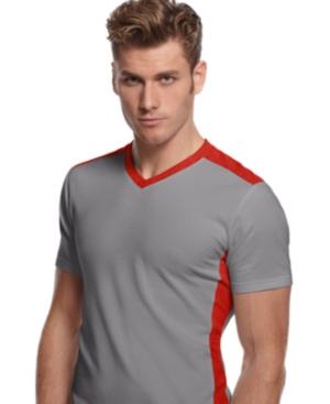 Alfani RED T Shirt, Active Color Block V Neck Tee