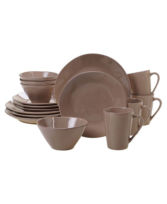Certified International - Harmony Solid Color - Taupe 16-Pc. Dinnerware Set