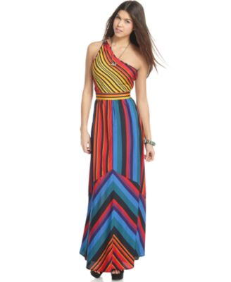 Ali & Kris Dress, Sleeveless One Shoulder Striped Maxi