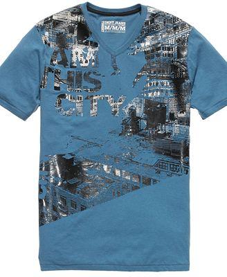 DKNY Jeans Shirt Short Sleeve I Am This City V Neck T Shirt Web ID 636486