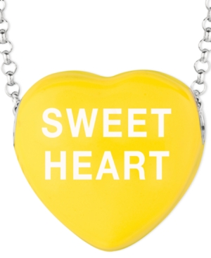 Sweethearts Sterling Silver Necklace, Yellow Sweet Heart Heart Pendant