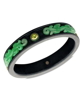 14k Gold Bracelet Jade 5mm Onyx 16-17mm and Peridot 2-1/4 ct. t.w. Bangle